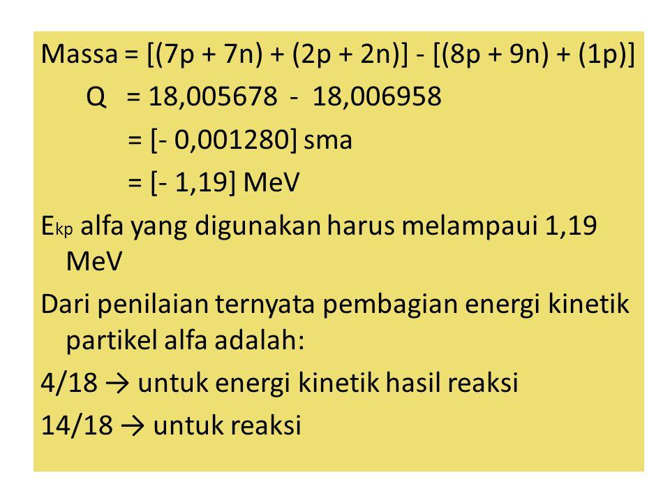 Massa = [(7p + 7n) + (2p + 2n)] - [(8p + 9n) + (1p)] Q = 18,005678 - 18,006958 = [- 0,001280] sma = [- 1,19] MeV Ekp alfa yang digunakan harus melampaui 1,19 MeV Dari penilaian ternyata pembagian energi kinetik partikel alfa adalah: 4/18 → untuk energi kinetik hasil reaksi 14/18 → untuk reaksi
